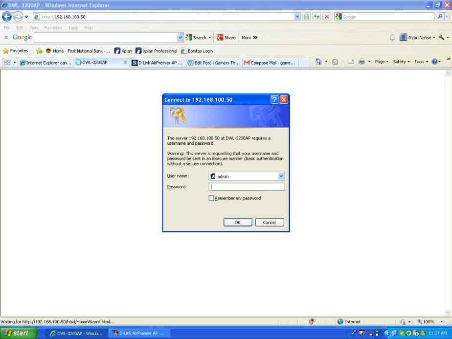 log into DWL-3200 AP on IE, Firefox, with IP address you have set